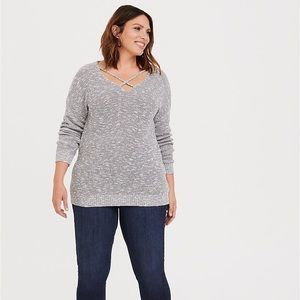 Torrid Marled Gray Strappy Pullover Sweater